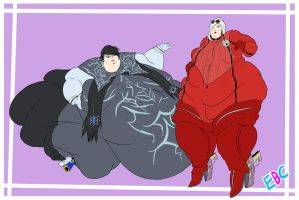 Jumbo Jeanne and Bountiful Bayonetta - COMM by ExtraBaggageClaim