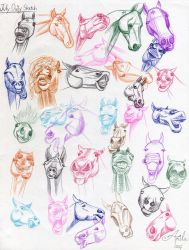 July Daily Sketch - Funny Horse Faces by MoonwalkingHorse