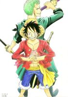 Luffy and Zoro by TaiKatsu05
