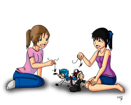 trade: playing with chibis by feerl