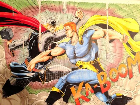 Thor vs Hyperion by Lionzstorm