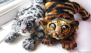 Custom Wildcat Tiger and Snow Leopard plush SOLD by Sovriin