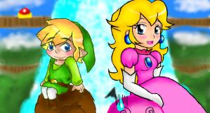 toon link and peach OWNS :B by YerBlues99