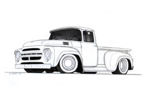 1964 ZIL-130 Stepside Custom Pickup Truck Drawing by Vertualissimo