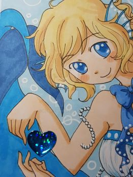 ACEO Blue Fish Heart by morri-chan