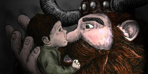 Baby Hiccup and his Daddy (Colour) by LenleG