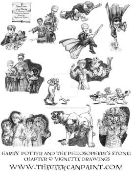 Harry Potter: Book 1 Chapter 9 Vignette Drawings by TheGeekCanPaint