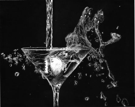 scratchboard martini by jinnybear