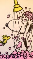 Snoopy in the shower by FlicKitty