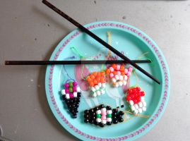 Bead Art: Sushi Set by SpellboundFox