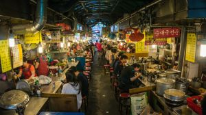 Traditional fast food on a market in Seoul, Korea by thebxs