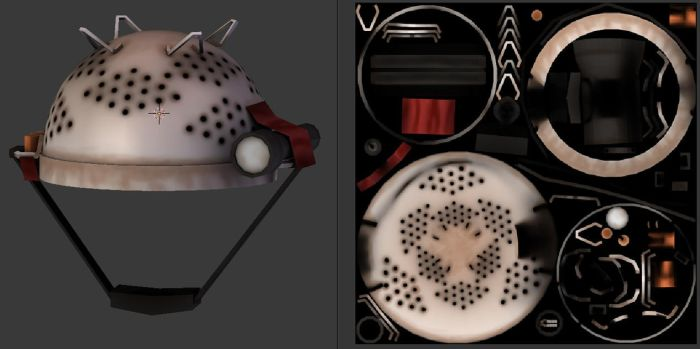 Team Fortress 2 strainer colander UV unwrapping by SdZLinko