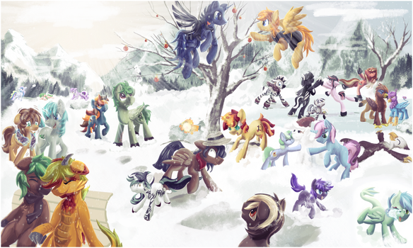 {5k Painting} Snowy Get Together by Amura-Of-Jupiter