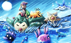 Trainer Mounted On A Surfing Pokemon by szynka2496