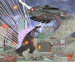 Shin Godzilla Vs Alien Ships by WoodZilla200