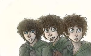 Frodo, Merry and Pippin by AlexandriaMonik