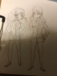 :girls in suits: by Kirashadraws99