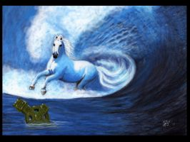 wallpaper white seahorse by Sassis