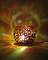 Celtic Votive Candle Holder - Red by bellekaX