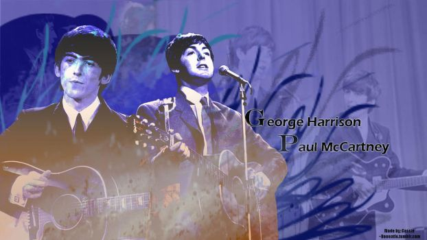 George Harrison and Paul McCartney Wallpaper by beeeatle