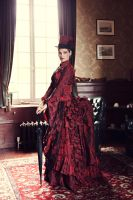 Myna dark red victorian corseted bustle gown by AtelierSylpheCorsets