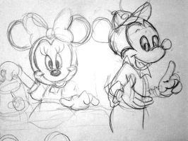 Mickey and Minnie Mouse sketch by 17cherry