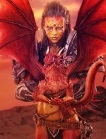 Fantasy Warrior Woman + Red Dragon, 3D-Art by shibashake