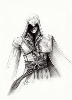 Ezio pencil drawing XD by Destinyfall