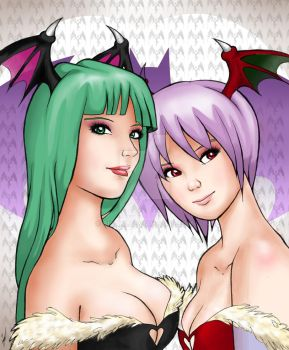 -Morrigan and Lilith- by Biaani