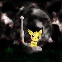 Pichu at the graveyard by LittleMissAntiSocial
