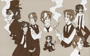 Jekyll and Hyde in sepia by SlackWater