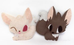 Fennec Fox Plushies - Koji and Lilah by TeacupLion