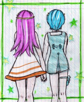 Blue and pinK by goddessOFtheSUN