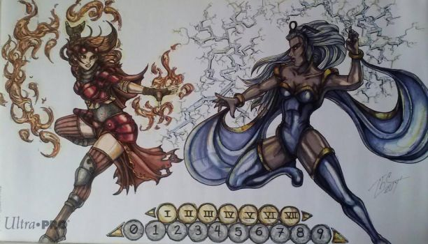 Playmat: Chandra vs Storm by TheGrumpyFrog