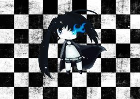 Black Rock Shooter Chibi (with Background) by janno-arts