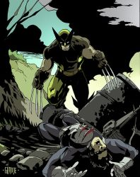 Wolverine vs The Punisher by johnnymorbius