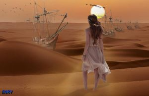 Sailing ships in the desert by anirico