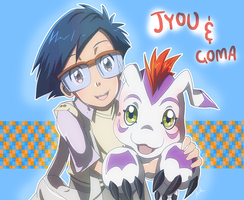 Jyou and Gomamon by ashflura