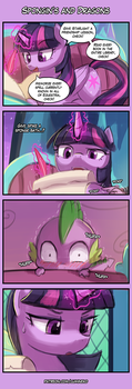 4koma Friday - Spongin's and Dragons by luminaura