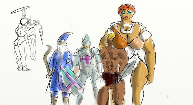 Band With Giantess Sketches by gondeviantart