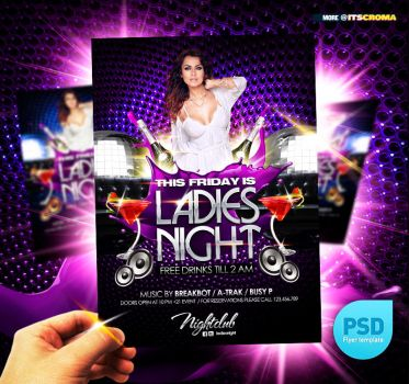 PSD Night Club Party Flyer Ladies Night by itscroma