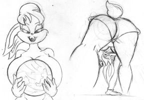 Giantess Sketch - Lola Bunny WIPs by Colonel-Gabbo