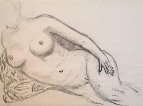 Nude Female Reclined Pose Using Charcoal by Nathan-Brice-Art