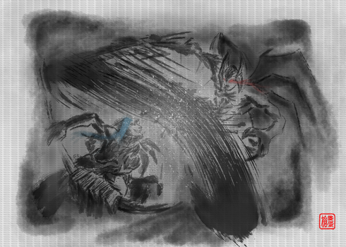 Aatrox VS Kayn (Attempt Chinese Inkwash imitation) by SatchanSatchiiSan