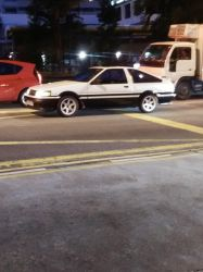 White-Black Toyota AE86 Levin Hatchback by Amgnismo
