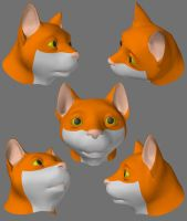 Cat Head Model by Xeroxed-Animus