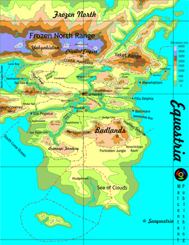Topographic Map of Equestria (Movie Edition) by Kyoshyu