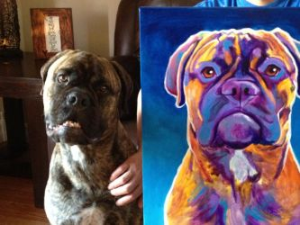 Lexi and her portrait by dawgart