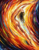 Gold Falls by Leonid Afremov by Leonidafremov