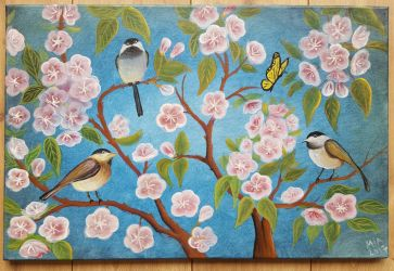 Spring birds and cherry blossoms  by Elfaria